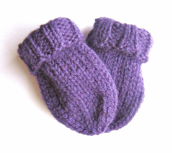 Hand Knit Baby Thumbless Mittens 6 12 Months Baby by VeryCarey