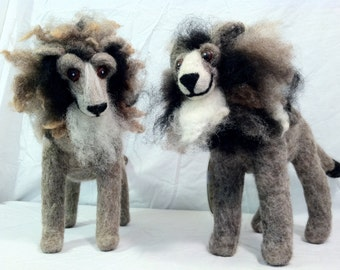 small needle felted wool lion