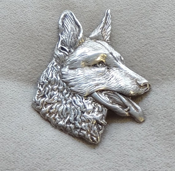 Sterling Silver German Shepherd Dog Pin or Brooch