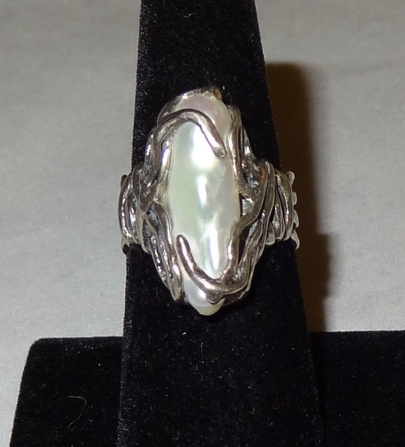 RESERVED FOR ROGER Vintage Sterling Silver and Oblong Freshwater Pearl Ring Size 8