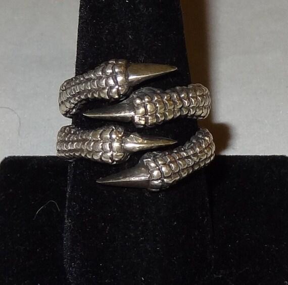 Vintage Sterling Silver Dragon Talon Ring Size 10 1/2