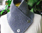 Hand knitted scarf neck warmer scarflette cowl chunky  for men women autumn winter blue  gray grey