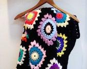 Vintage granny square crochet throw blanket