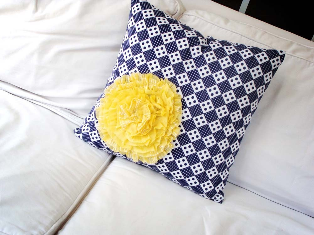 Yellow Ruffle Decorative Pillow : Yellow ruffle flower throw pillow cover 16x16 vintage navy