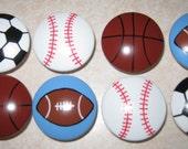 "SPORTS BALLS - 1 1/2"" knobs ---  Football, Basketball, Baseball, Soccer Ball - Hand Painted  Wooden Dresser Knobs - Set of 8"