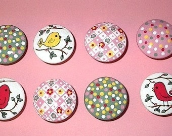 BIRDS and DOTS KNOBS - Pink and Green Hand Painted Wooden Knobs/Pulls - Set of 8 - Great for Little Girl's Room or Nursery