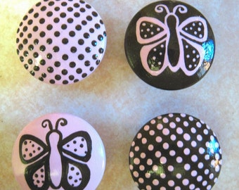 Set of 4 - PINK AND BROWN - Dots and Butterflies - Hand Painted Dresser Drawer Knobs
