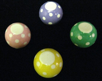 Set of 4 - PASTEL with DOTS - Cork Board Push Pins - Hand Painted - Organize In Style
