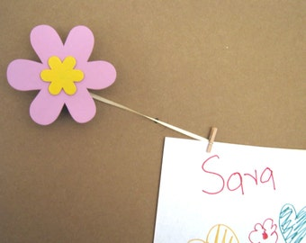 Pair of PINK FLOWER Art Holders for Children's Art