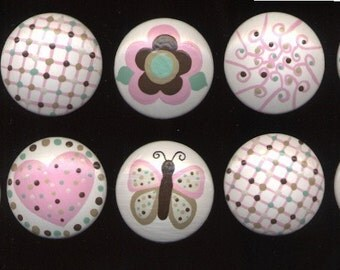 Butterflies, HEARTS, Flowers and MORE - Knobs  - Pink & Brown Hand Painted Wooden Knobs/Pulls - Set of 10 - Great for Little Girl's Room