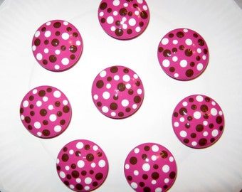 Hot Pink Knobs Pulls with Chocolate and White Polka Dots - Set of 8