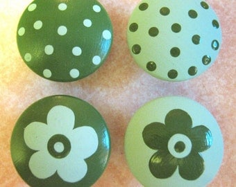 8 - DARK and LIGHT GREEN - Polka Dots & Flowers - Drawer Knobs / Pulls