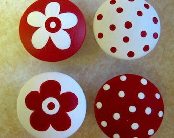 8 - RED and WHITE - Polka Dots & Flowers - Drawer Knobs / Pulls