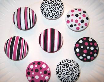 Set of 8 - 2 inch - Hot Pink, Black and White -  Leopard, Stripes & Polka Dots Dresser Knobs / Pulls