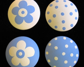 8 - BLUE and WHITE - Polka Dots & Flowers - Drawer Knobs / Pulls