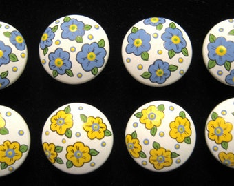 READY To SHiP -BLUE and YELLOW CHiNTZ Flowers- Hand Painted Wooden Knobs/Pulls - Set of 8 - Great for Bedroom, Nursery or Little Girl's Room