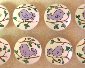 Set of 8 PURPLE BIRDIES - Hand Painted Wooden Knobs Pulls