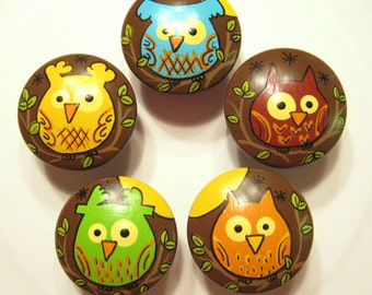 OWLS On BROWN KNOBS - Set of 5 - Hand Painted Drawer Knobs/Pulls
