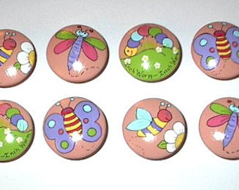 Set of 8 - GARDEN RESIDENTS - Butterflies, Honey Bees, Dragonflies & Inchworms - APRICOT Colored Drawer Knobs