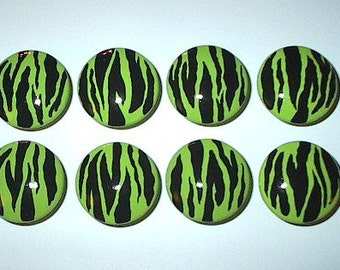 Bright Green ZEBRA -  Hand Painted Wooden Knobs/Pulls - Set of 8 - Great for Little Girl's Room, Nursery, Girly Bedroom or Office