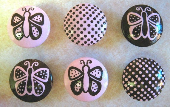 Set of 6 - PINK and BROWN - Dots and Butterflies - Hand Painted Dresser Drawer Knobs