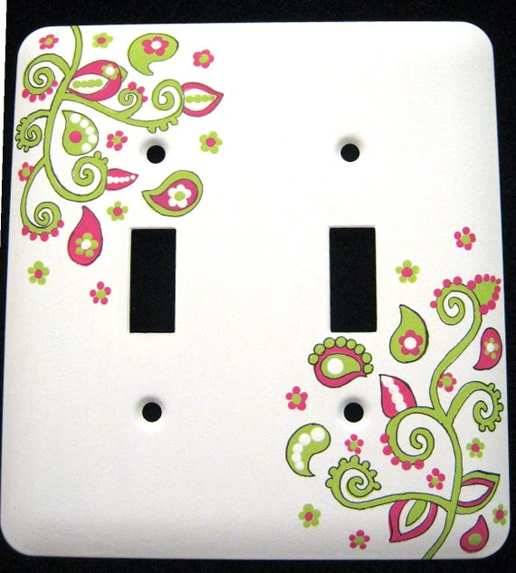 Hot Pink & Lime Green Paisley Design DOUBLE - METAL Switchplate Cover