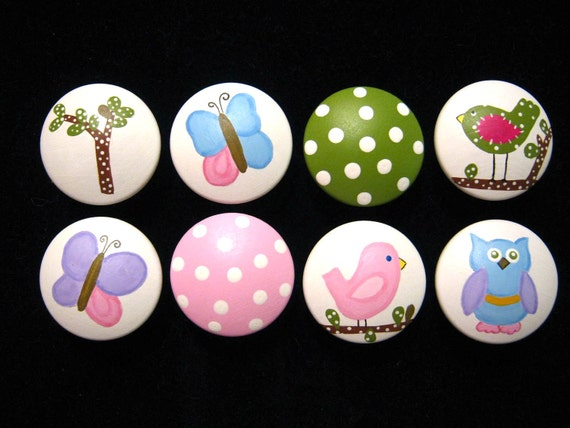 HAYLEY Bedding Design - Set of 8 Knobs - Pottery Barn Kids Design - HAND PAINTED