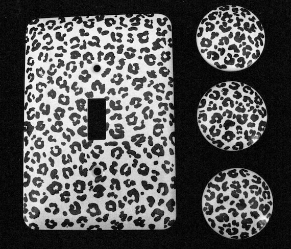 Leopard Print Black and White Hand Painted Drawer Knobs and Single METAL Switch Plate to match