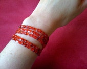 Reserved Please and Thank You              Red Czech Nailhead Bracelet on Silk