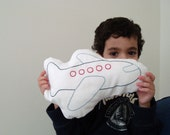 Airplane Hand Embroidered Pillow - Small