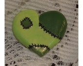 Hand-crafted Green Frankenstein Zombie Heart Pin