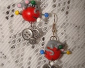 Hand-crafted Sewing Mice Needles & Cushion Dangle Earrings