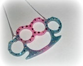 XX Fist Kiss Blinged Out Blue-Pink Glitter Lifesize Knucks Necklace XX