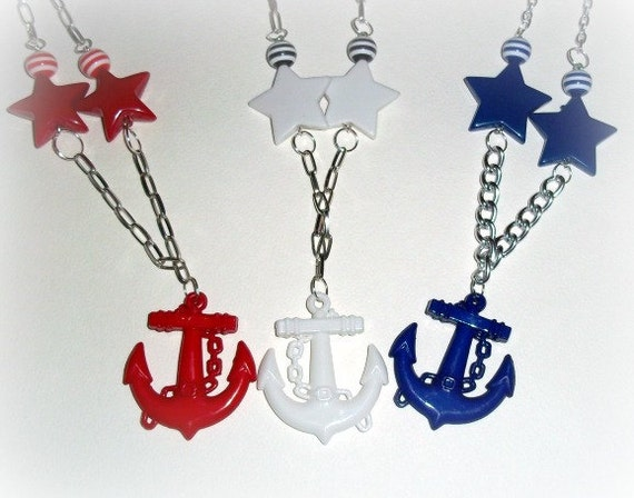 XX Nautical Pin Up Anchor Necklaces XX Red, White Or Blue XX