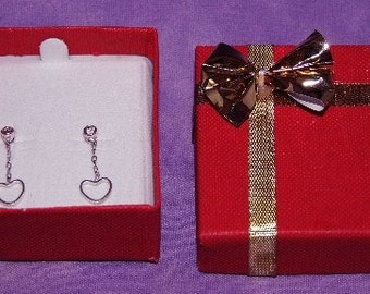 Bowtie Earring Box 24 Qty Red In Color  SALE