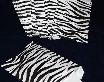 100 Gift Or Shopping Bags Zebra Design