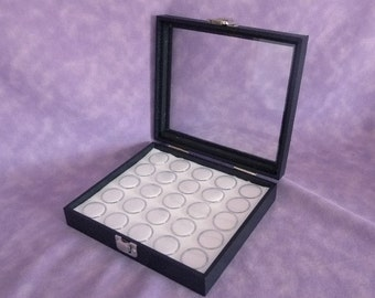 Bead And Gem Storage Glass Top Case With Hinged Lid 25 Jars White Foam