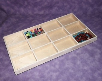 12 IN 1 Natural Wood Jewelry Sorting Tray SALE