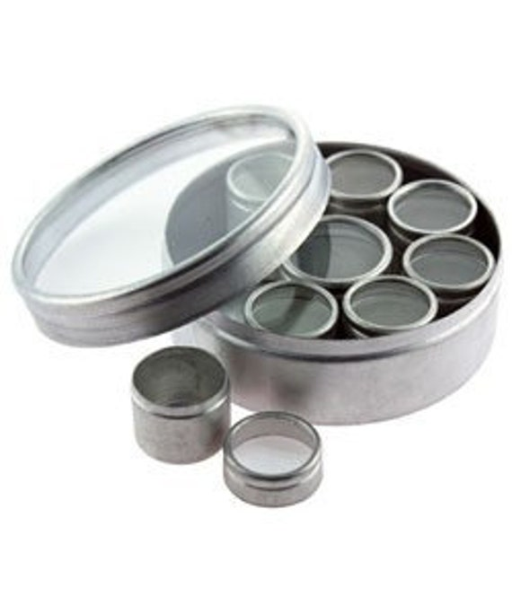 Glass Top Round Aluminum Storage Box Set