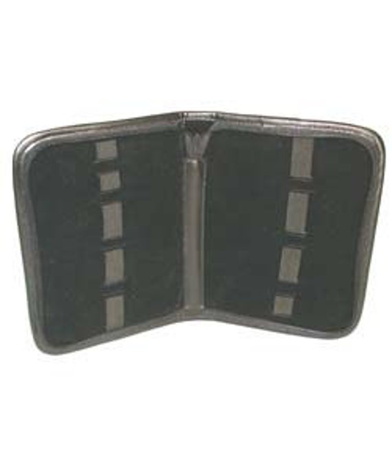 Zippered Leatherette Tool Pouch With 9 Bands Black In Color