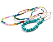 """crystalized in teal // necklace / bracelet with """"giant"""" neon pink seed beads and cylindrical multicolor metallic beads"""