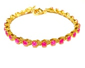 new soul in neon magenta and gold // bracelet with gold wrapped hand painted neon magenta crystal chain
