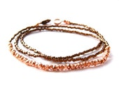 copper mine // necklace / bracelet with mini chunky geometric copper beads on metallic bronze / copper seed bead background