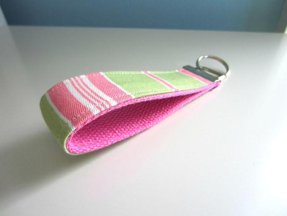 Wristlet Key Chain Preppy Pink Green Stripe on Pink Backing