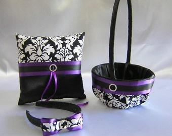 Wedding Accessories Damask Purple Flower Girl Basket Headband Ring Bearer Pillow Your Color