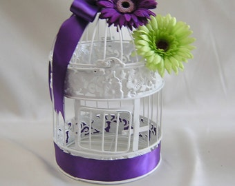 Daisy Green Purple Wedding Birdcage Card Holder Bird Cage Centerpieces Reception Your Colors