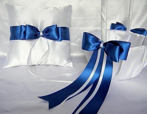 Wedding Accessories Royal Blue Flower Girl Basket Ring Bearer Bearer Pillow Pillow Customized Color
