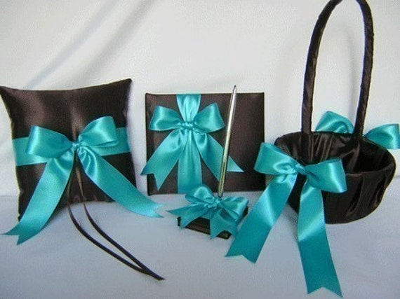 Turquoise chocolate brown flower girl basket ring pillow guest book and pen set  your colors