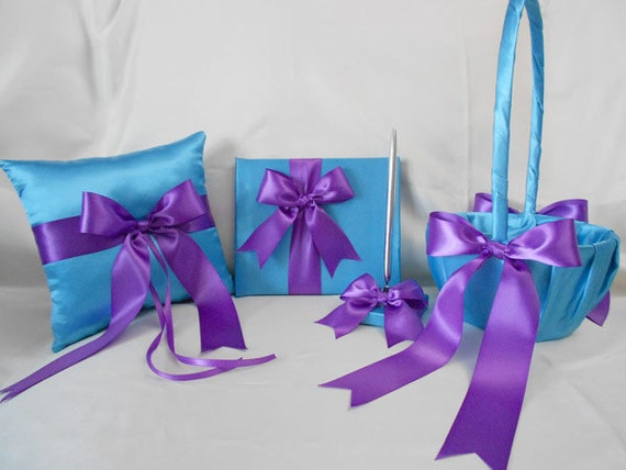 Wedding Accessories Turquoise Purple Flower Girl basket Ring Pillow Guest Book Pen Your Colors