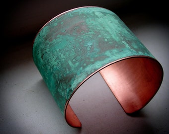 "The Original Patina Cuff - Green Verdigris - 2"" Copper Cuff"